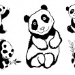 Pandas set. - Stockvectorbeeld