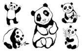 Pandas set. — Stock Vector