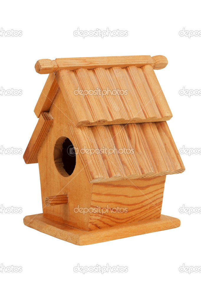 Small wooden birdhouse on a white background — Stock Photo #10446051
