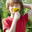 Stock Photo: Teenager enjoys odors from dandelions