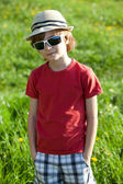 The fair-haired boy in red shirt — Stock Photo