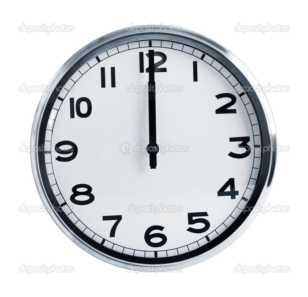 Office Wall Art Wall Office Clock Showing At Noon Stock Photo