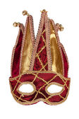 Decorative red gold carnival mask with bells — Stock Photo