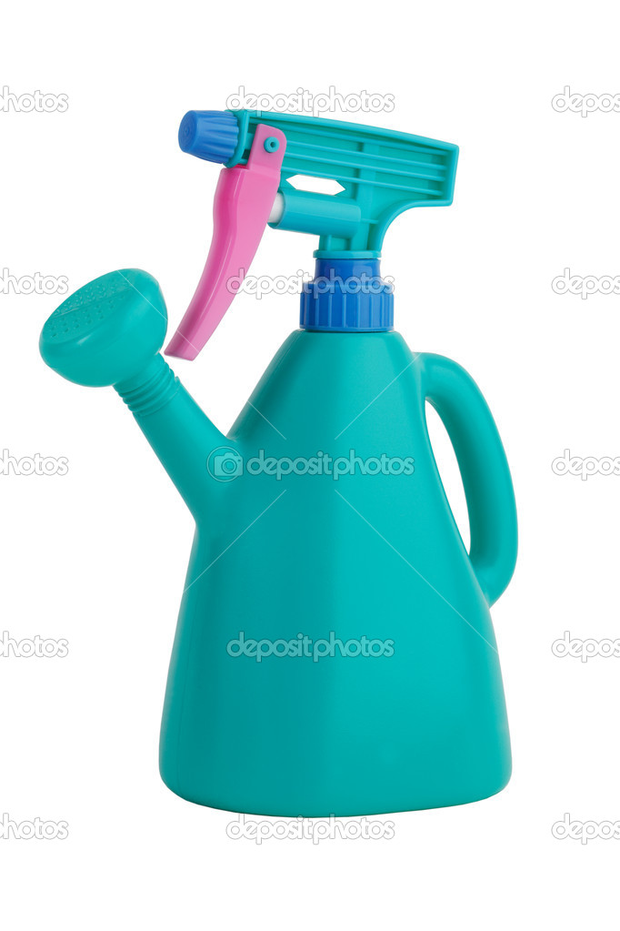 Universal green watering can with pulvirizatorom on a white background — Stock Photo #7987537