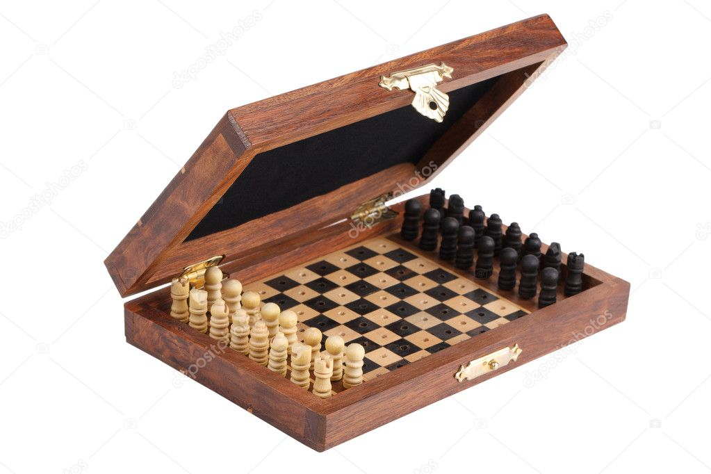 Pocket chess, folded into a box on  white background  Stock Photo #8026999