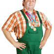 Confident working in overalls - Foto Stock