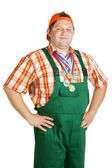 Confident working in overalls — Stock Photo