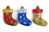 Three beautiful Christmas toy shoes — Stock Photo