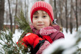 Little girl in a knitted hat — Stock Photo
