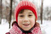 Närbild på ansiktet en liten flicka — Stockfoto
