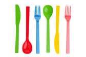 Disposable fork, spoon and knife — Stock Photo