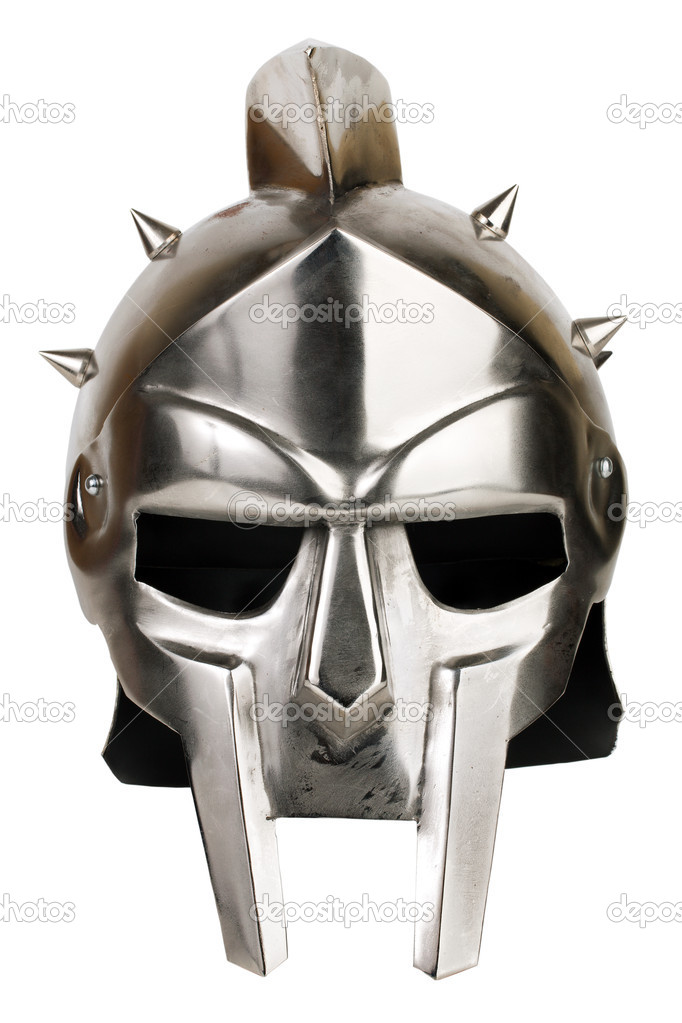Iron Roman legionary helmet on white background  Stock Photo #8830345
