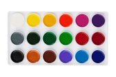 Different set of watercolors in the box — Stock Photo
