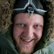In polar flying helmet — Stock Photo