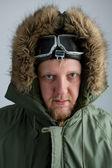 Polar in a green jacket — Stock Photo