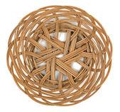 Wicker brown basket of bread or fruit — Stock Photo
