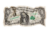Torn crumpled dollar — Stock Photo
