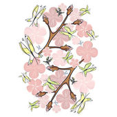 Pink blossom and butterflies — Stock Vector
