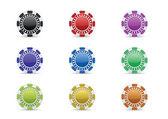Casino chips icon set — Stock Vector