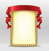 Gold frame with red ribbon — Stock Vector