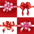 Red and Pink decorative bow set - Stock Vector