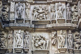 Erotic Temple Carvings at Khajuraho — Stock Photo