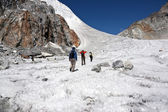 Traversing a Himalayan Glacier — Stock Photo