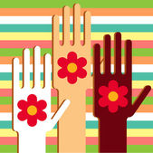 Hands with flowers — Stock Vector