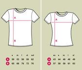 T-Shirt Sizes — Stock Vector