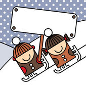 Ice skating Kids — Stock Vector