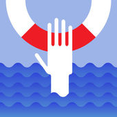 Hand of drowning — Stock Vector