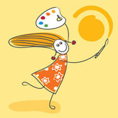 Happy girl drawing sun — Stock Vector