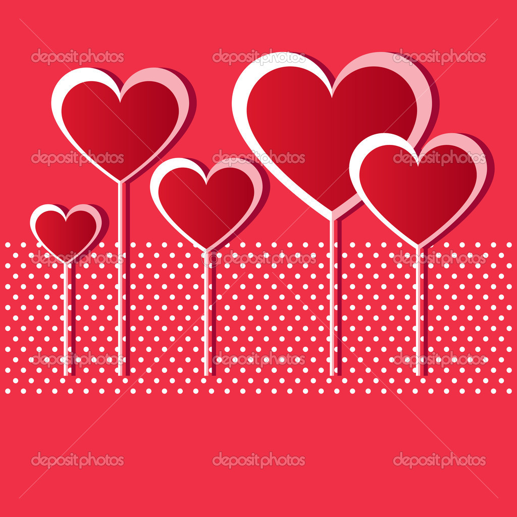 Valentine red hearts on red background — Stock Vector #9148151