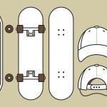 Skateboard and cap — Stock Vector
