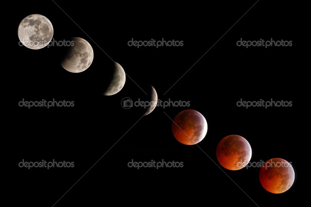 A photograph showing the progressive stages of a total lunar eclipse. — Stock Photo #7979399