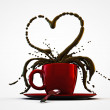 Red cup coffee heart shape — Stock Photo