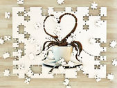 White cup coffee heart shape on puzzle — ストック写真
