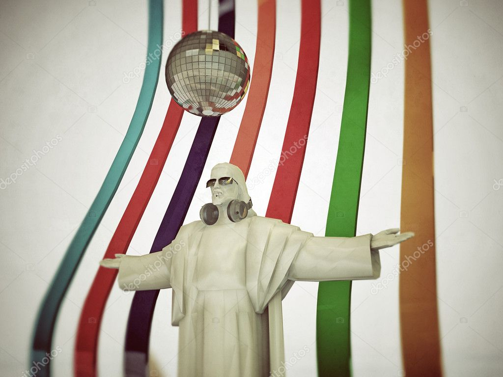 Jesus disk jockey with open arms  Photo #10422179