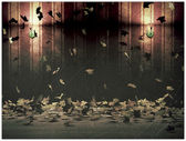 Autumn leaves in an old fashioned room — Stock Photo