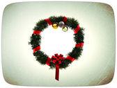 Vánoční věnec v grunge pohlednice — Stock fotografie