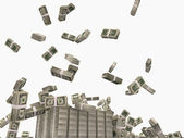 Dolarów spadają na podłogę na białym tle — Zdjęcie stockowe