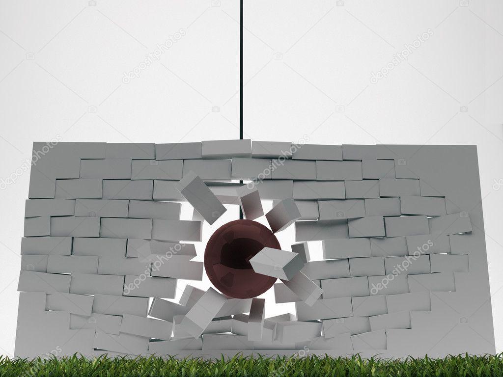 Boule de d molition casser un mur de brique photographie homeworks255 79 - Casser un mur de brique ...