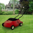 Red lawnmower in a beautiful green garden — Stock Photo #8083317