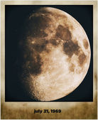 Moon in old grunge picture frame — Stock Photo