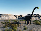 Dinosaur in a dry land — Stock Photo