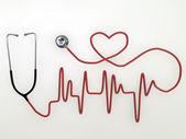 Stethoscope heart shaped isolated on white background — Stock Photo