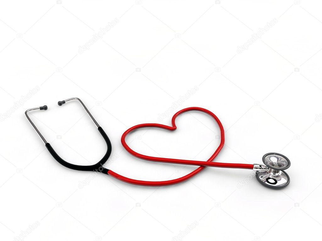 Corazón De Estetoscopio En Forma Aislada Sobre Fondo