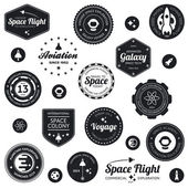 Space travel badges — Stok Vektör