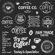Coffee chalkboard text and symbols — Stock Vector