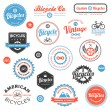 Various bicycle labels and emblems — Imagens vectoriais em stock